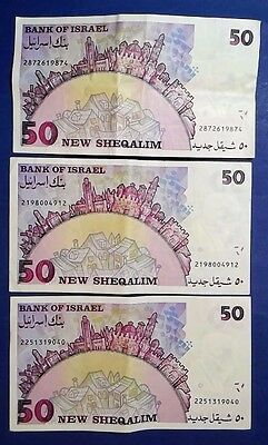 ISRAEL: 3 x 50 New Sheqalim Banknotes Very Fine Condition