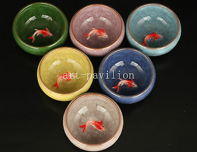 Six High Combination Ice Crack Porcelain Three-Dimensional Fish Statue Tea Cup