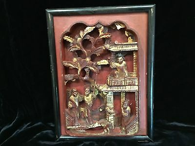 """antique Chinese hand carved wood plaque panel red gilt Qing 10.75x8"""" 19thC 4 men"""