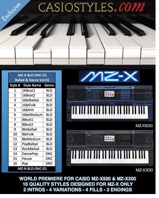Casio MZ-X500 MZX-300 - 16 New Quality Styles - Ballad & Dance Volume 01 -DL AC7