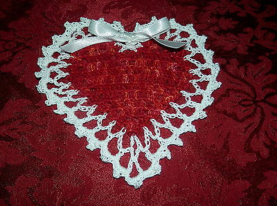 New Hand Crocheted Red/White Valentine's Day Heart Doily~Ribbon