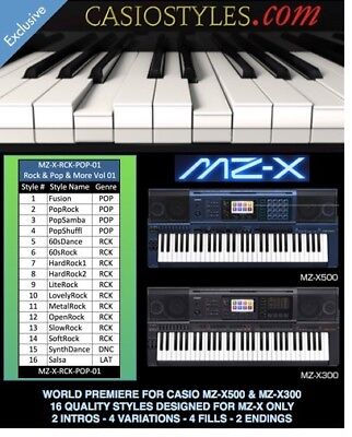 Casio MZ-X500 MZX-300 - 16 New Quality Styles - Rock & Pop Volume 01 - DL AC7