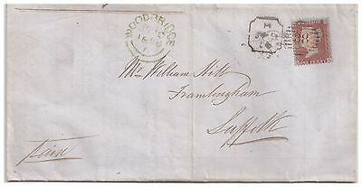1856 London late mail duplex 1d red cover to Framlington