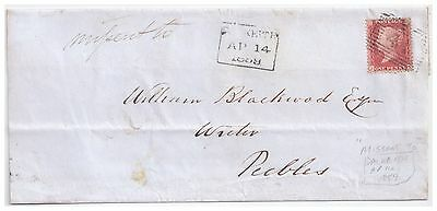 1859 1d red on Mifsent to Dalkeith cover