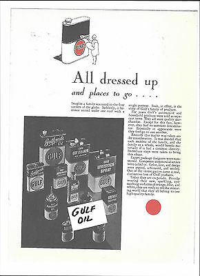 Gulf Oil 1933 May-June Oil Cans Poster