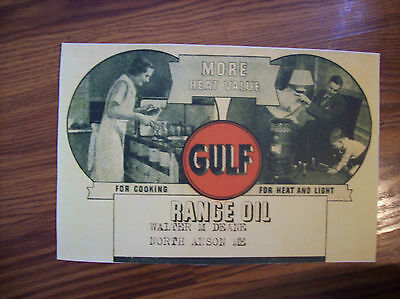 Gulf RANGE OIL Poster Early 1900's