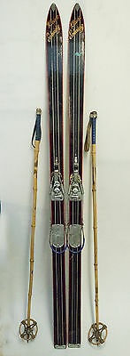 Vintage Skis with Bamboo Poles 65 Inch