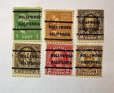 Precancel Lot of   (6) DIFFERENT DPO  DEAD POST OFFICE  HOLLYWOOD, CA   See pic*