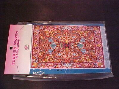 Dolls House Miniature Woven Turkish Rug Small Floral Red/Green/Blue/Yellow/White
