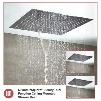 "500mm ""Square"" Luxury Ceiling Mounted Shower Head & Waterfall (3 Settings)"