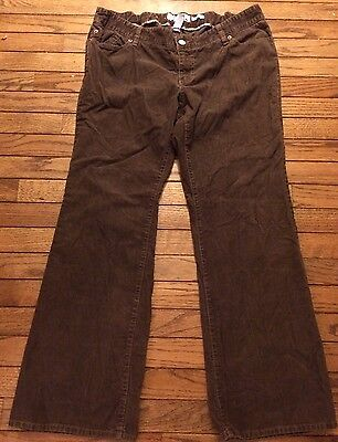Old Navy Maternity Brown Corduroy Pants Stretch Large L Adjustable Waist