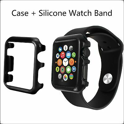 2 in 1 Bundle 42mm Black Apple Watch Hard Protective Case and Silicone Band