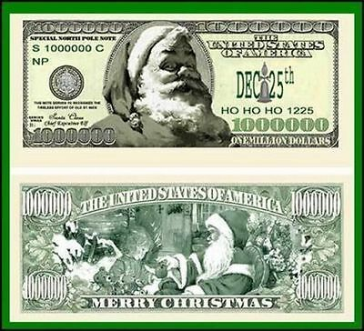 25 Factory Fresh Novelty Modern Santa Million Dollar Bills