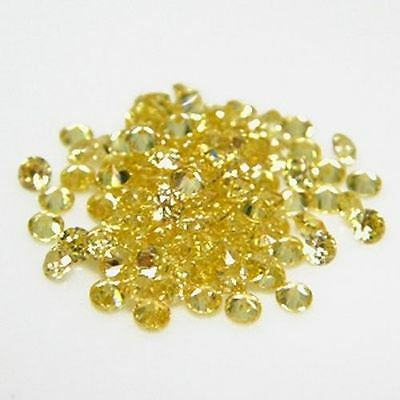 25 PIECES OF 1mm ROUND-FACET BRIGHT CANARY-YELLOW CUBIC ZIRCONIA GEMSTONES