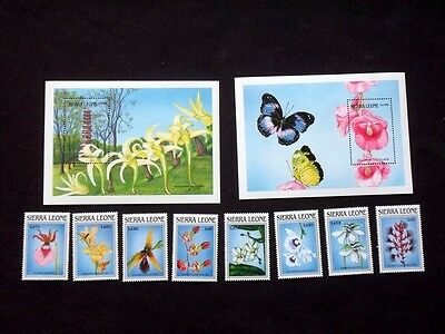 Sierra Leone 1989 Orchids Unmounted MINT Stamps & Mini Sheets Set SG 1303-1311