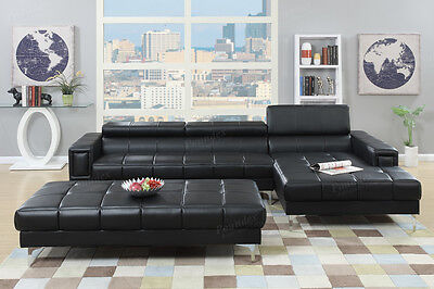 3PC Black Bonded Leather Tufted Sectional Sofa with Ottoman