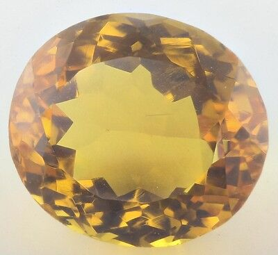 UNUSUAL 14.5x13mm OVAL-FACET NATURAL AFRICAN GOLDEN CITRINE GEMSTONE (APP £164)