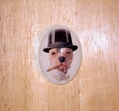 Dog In Top Hat & Cigar Glitter Unset Handmade Art Bubble Cameo Cabochon 30X40mm