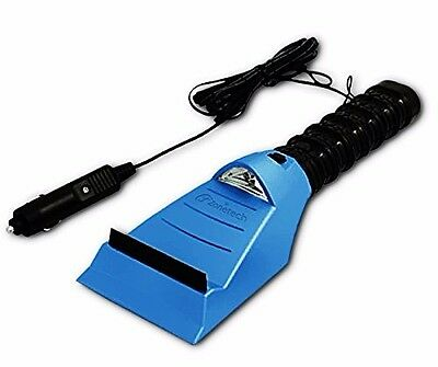 Zone Tech Heated Car Window Snow Ice Scraper With LED Light Blue 12V 14 Ft. Cord