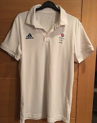Athletes Issue Only Rio 2016 Olympic Team GB Adidas Climachill White Polo Shirt