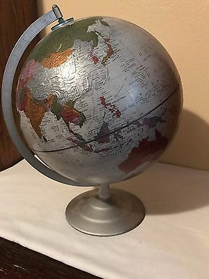 "Vintage Replogle 12"" Diameter World Globe on Silver Metal Stand 16"" Tall - Spins"