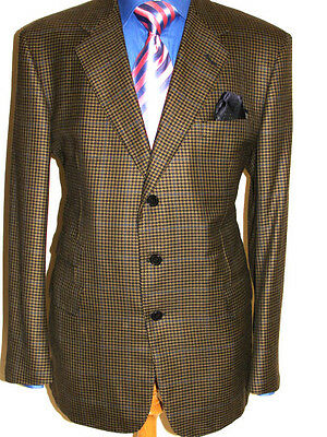 Mens Bespoke Chester Barrie Savile Row Vintage Houndstooth Tweed Jacket Uk 44R