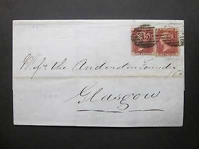 GB London Late Fee 1865 QV 1d red x2 Wrapper 45 Twin Obliterator to Glasgow
