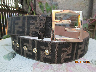 Fendi Iconic Zucca  Ff Brown Canvas Gold Tone Ff Logo Buckle Belt Rare Vintage