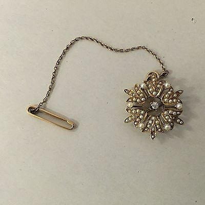 Antique 14K Gold Seed Pearl & Diamond Brooch - 5.1 Grams