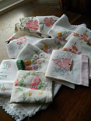 Bundle 8 items vintage  linen tablecloths, tray cloth, towels hand embroidered