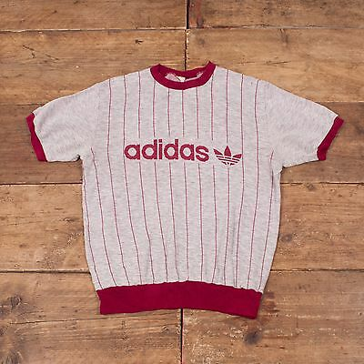 "Mens Vintage Adidas Jersey T Shirt 70s 80s Casuals Grey Burgundy M 38"" R4458"