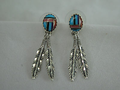 Vintage Southwest Sterling & Inlaid Stone Feather Earrings