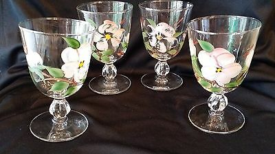 4 Hand Painted Apple Blossom Pedestal Drinking Glasses