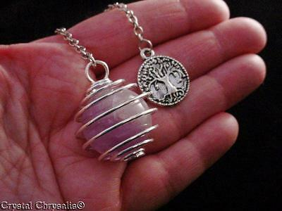 Antique Silver Large Natural Amethyst Clear Crystal Sphere Pendulum