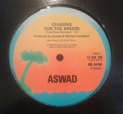 """Aswad chasing for the breeze + gave you my love 12"""" reggae roots 45 rpm"""
