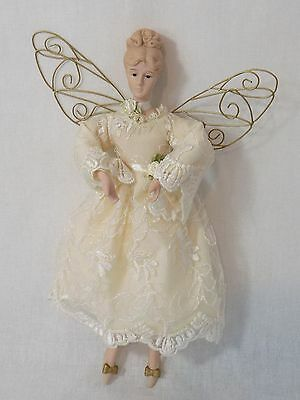 """Lovely Bisque Angel Doll with Metal Wings - 13.5"""""""