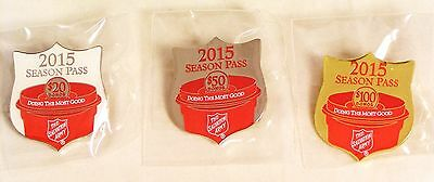 "Salvation Army - SET OF 3 ""SEASON PASS"" 2015 CONTRIBUTOR'S PINS"