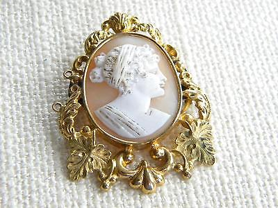 antique Victorian SHELL CAMEO brooch decorative setting ~ beautiful ~