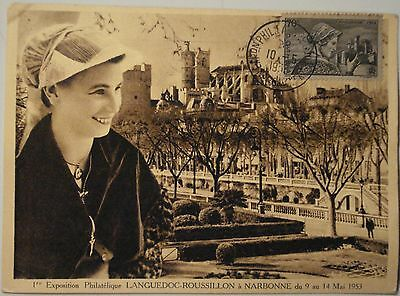 3027 Cpa Exposition Philatelique Languedoc Narbonne 1953 France N° 448