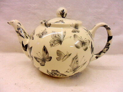 Half price Black butterfly design 2 cup teapot by Heron Cross Pottery