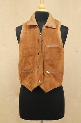 Womens Vintage 70s Suede Leather Moto Vest BERMANS Leather Brown Western Small
