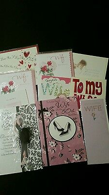Job Lot Of 10 Quality Assorted Wife Birthday Cards