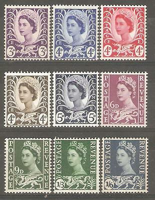 1958-69 Wales Regionals ( Set of 9 ) Mint Never Hinged.