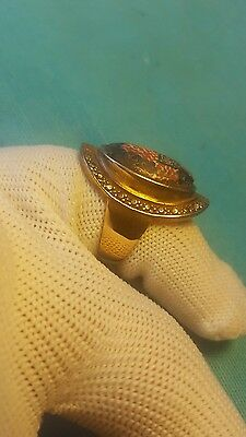 ROMAN OLD MOSAIC GLASS WONDERFUL SOLID GOLD RING  8.27grams