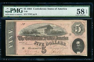 AC T-69 $5 1864 Confederate Currency CSA PMG 58 EPQ