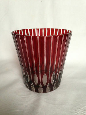 Vintage Bohemian  Ruby Red Cut To Clear Glass candleholder/ vase/ tumbler
