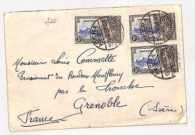 I188 1935 GOLD COAST Commercial *Silver Jubilee* Franking Accra -Grenoble Cover