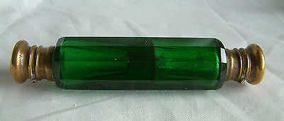 Antique Double ended 10 sided green glass perfume bottle with gilded brass ends