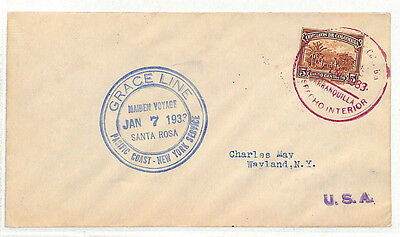 DD189 1933 COLOMBIA MARITIME Grace Line Steamer Mail SS*Santa Rosa* Cover USA