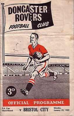 DONCASTER v BRISTOL CITY 1958/59 FA CUP 3RD ROUND